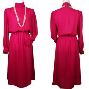 Ms. Chaus Pink Blouson Dress Vintage Women's 12
